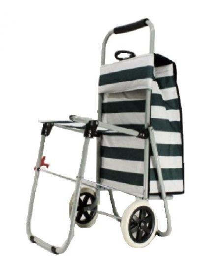 Сумка-тележка с откидным стульчиком.  Материал - текстиль, металл.  Сумка крепится на металлическую тележку, её можно...