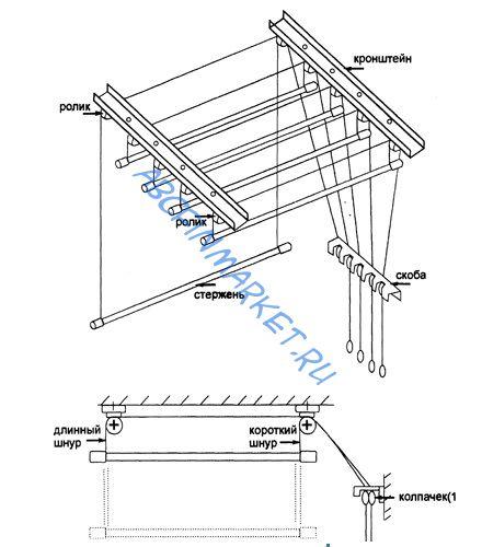 Инструкция по установке потолочной сушилки для белья - cdruk.